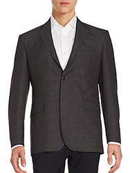 Yves Saint Laurent Two Button Long Sleeve Wool Jacket Charcoal