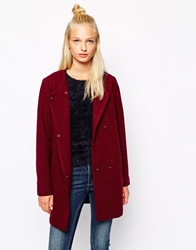 Monki Collarless Coat Wine
