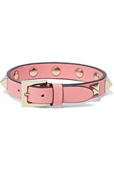 Valentino The Rockstud Leather And Gold Tone Bracelet Pink