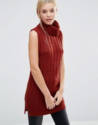 Brave Soul Roll Neck Knitted Vest Burnt Henna Orange