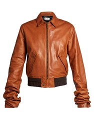Saint Laurent Extra Long Sleeves Leather Bomber Jacket Mid Brown