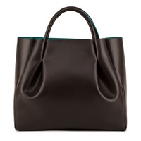 Alexandra De Curtis Ashley Midi Ruched Tote Brown