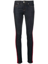 Red Valentino Striped Trim Skinny Jeans Blue