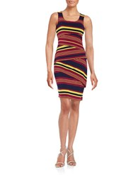 Spense Tiered Shift Dress Brown Striped