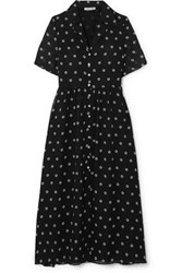 Sandy Liang Picasso Floral Print Georgette Dress Navy