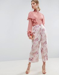 Asos Floral Print Cropped Wide Leg Trousers With Popper Detail Floral Multi