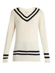 Frame Varsity V Neck Wool And Cashmere Blend Sweater White Multi