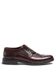 Burberry Asymmetric Grained Leather Brogues Burgundy