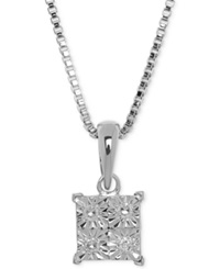 Macy's Diamond Accent Pendant Necklace In Sterling Silver