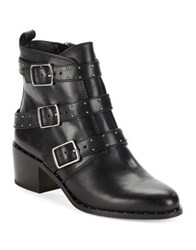 424 Fifth Finn Side Buckle Leather Booties Black