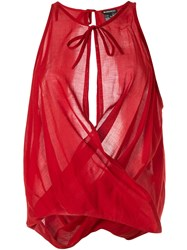 Ann Demeulemeester Draped Voile Blouse Red