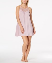 Alfani Lace Trimmed Scoop Neck Chemise Created For Macy's Muave Dream