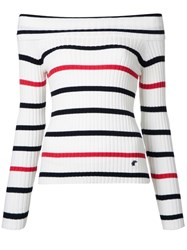 Loveless Off Shoulder Striped Jumper White