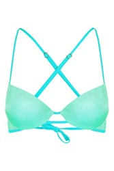 Topshop '80S Strappy Plunge Bikini Top Mint