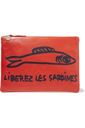 Clare V. V Supreme Printed Leather Clutch Red