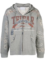 Telfar Cut In Tour Zip Hoodie Grey