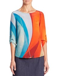Akris Punto Main Sail Print Silk Blouse Multicolor