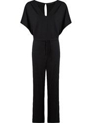 Giuliana Romanno Deep V Neck Jumpsuit Black
