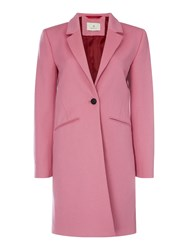 Gant Long Line Button Tailored Coat Pink