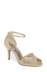 Adrianna Papell Fifi Ankle Strap Sandal Gold Fabric