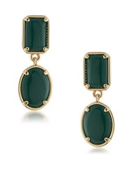 1St And Gorgeous Double Drop Cabochon Stone Earrings Green