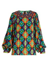 Andrew Gn Geometric Print Silk Blend Crepe Blouse Green Multi