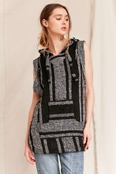 Urban Renewal Recycled Woven Sleeveless Hooded Top Black Multi