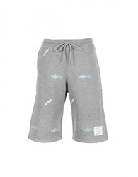 Thom Browne Sharks And Surfboards Embroidered Shorts Light Grey