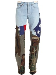 Ronald Van Der Kemp Printed Flag And Army Flared Jeans