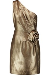 Halston Heritage One Shoulder Flower Embellished Lame Mini Dress Gold