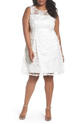 Adrianna Papell Plus Size Women's Zelda Fringe Lace Fit And Flare Dress White