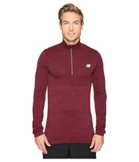 New Balance M4m Seamless Quarter Zip Top Sedona Heather Men's Long Sleeve Pullover Purple