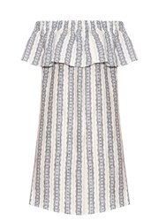 Sea Striped Linen Off The Shoulder Dress Blue White