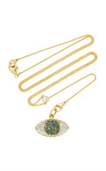 Renee Lewis Green And White Diamond Third Eye Shake Necklace On Y Chain