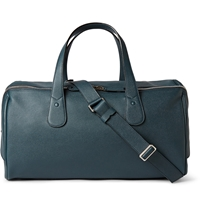 Valextra Cabina Pebbled Leather Holdall Blue