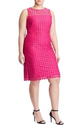 Lauren Ralph Lauren Plus Size Women's Dot Lace Sheath Dress Caliente Pink