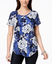 Jm Collection Short Sleeve Floral Print T Shirt Created For Macy's Blue Delicate Blossom