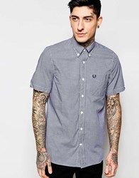 Fred Perry Shirt In Gingham Check Short Sleeves In Blue