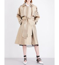 Sharon Wauchob Double Breasted Satin Trench Coat Beige