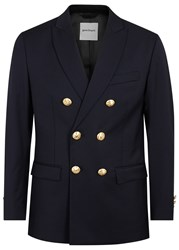 Palm Angels Navy Double Breasted Wool Blazer
