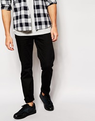 Standard Issue Exclusive Skinny Jeans With Faux Leather Pocket Black