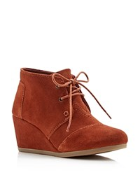 Toms Desert Wedge Suede Lace Up Booties Cognac