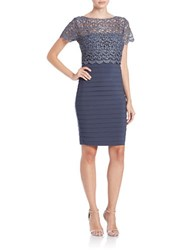 Betsy And Adam Lace Popover Dress Steel