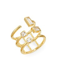 Elizabeth And James Dia White Sapphire Triple Band Ring Gold
