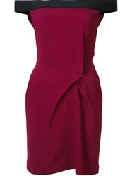 Roland Mouret Off The Shoulder Mini Dress Pink And Purple
