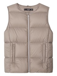 Mango Lightweight Feather Quilted Gilet Medium Brown