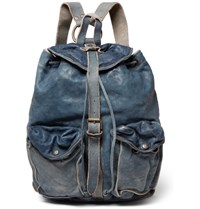Rrl Riley Washed Leather Backpack Blue