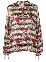 Black Coral Butterfly Print Blouse Red