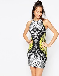 Motel Silka Bodycon Dress With Strap Back In Neon Scale Print Neonscaleyellow