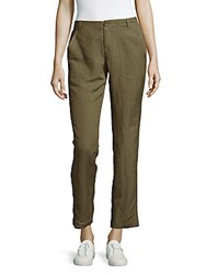 Leo And Sage Solid Straight Leg Ankle Pants White